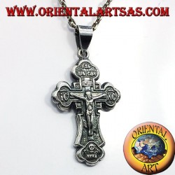 colgante de la cruz ortodoxa en plata
