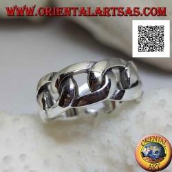 Anello in argento fascia liscia a catena rigida con anelli ovali spessi