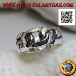 Silver ring smooth rigid chain band with thick oval rings