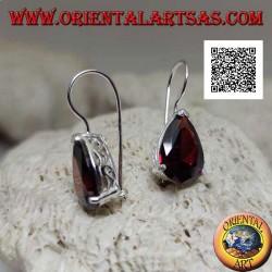 Silver drop earrings with large garnet drop set in a simple setting