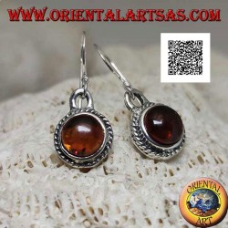 Silver pendant earrings with natural round cabochon amber surrounded by weaving