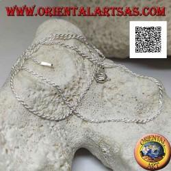 Collana in argento 925 ‰ con maglia attorcigliata tonda da 40 cm x 1 mm x 1 mm