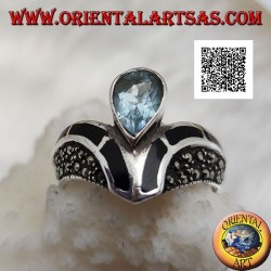 V-shaped silver ring studded with marcasite with central drop onyx and topaz decoration