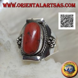 Silver ring with oval Tibetan antique coral in Nepalese setting and balls on the sides (18)