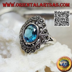 Silver cloud ring with oval blue topaz and marcasite