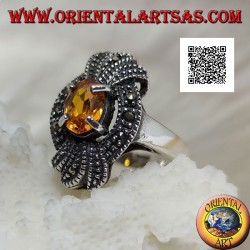 Silver ring, marcasite bow with a natural oval yellow topaz set