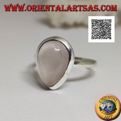 Silver ring with cabochon drop rose quartz on a smooth solitaire setting