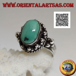 Silver ring with antique oval Tibetan turquoise surrounded by trio of balls and intertwining (16)