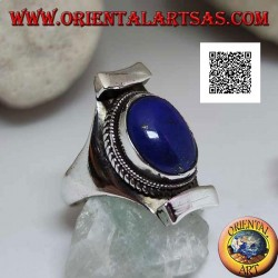 Silver ring with oval lapis lazuli surrounded by interlacing on Nepalese setting