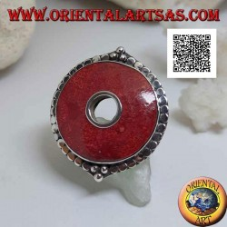 Silver ring with red coral (coral) disc surrounded by adjustable discs (freesize)