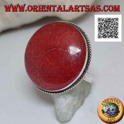 Silver ring with red coral (coral) round cabochon surrounded by adjustable cord (freesize)