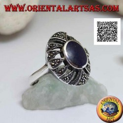 Silver ring with oval lapis lazuli on a rounded perforated oval studded with marcasite