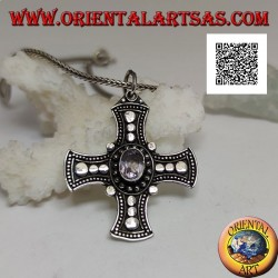 Silver pendant, Celtic cross with natural oval amethyst and discs on the arms