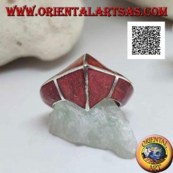 Red madrepora ring (coral) with frontal pointed silver structure
