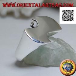 Anello in argento liscio di forma piatta, astratta e sinuosa in stile futuristico
