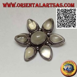 Silver pendant brooch in the shape of a star with 7 adularia (moonstone), central cabochon oval and six drop