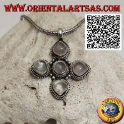 Pendentif en argent, croix grecque avec 4 pierres de lune adulary goutte et une ronde entourée de tissage