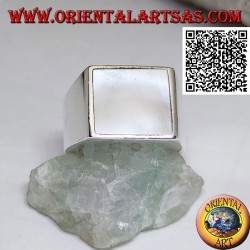 Silver ring with square mother of pearl flush with the edge on a smooth 13 * 13 setting