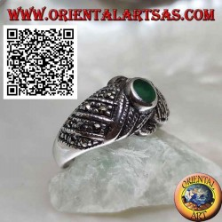 Silver ring with oval green agate on crossed threads studded with marcasite