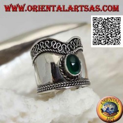 Wide V-band silver ring with oval green agate and serpentine on one side, Bali