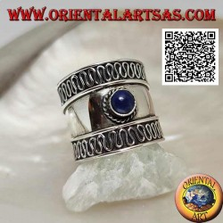 Wide band silver ring with round lapis lazuli and serpentine on the sides, Bali