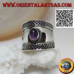 Wide band silver ring with oval cabochon amethyst and serpentine on the sides, Bali