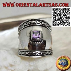 Wide band silver ring with faceted square amethyst and intertwining on the sides, Bali