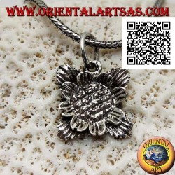 Silver pendant in the shape of a sunflower with leaves