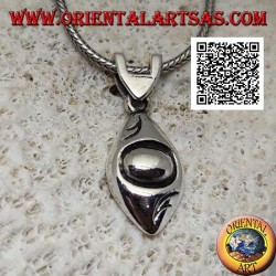 Silver pendant in the shape of a smooth rounded eye with engraved pupil
