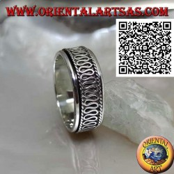 Anti-stress rotating silver ring, with central serpentine between cords