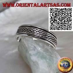 Anello fedina in argento girevole antistress, due linea ondulata intrecciate tra loro