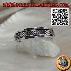 Anello fedina in argento girevole antistress, reticolo intrecciato a X