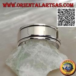 Anello fedina in argento girevole antistress, anello liscio su anello liscio