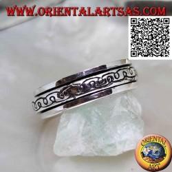 """Anello fedina in argento girevole antistress, due linee curve ad """"e"""" a specchio"""