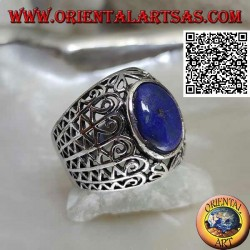 Silver ring with oval lapis lazuli on a wide rounded band with openwork decoration