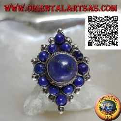 Rhomboidal silver ring with round lapis lazuli and central round cabochon lapis lazuli