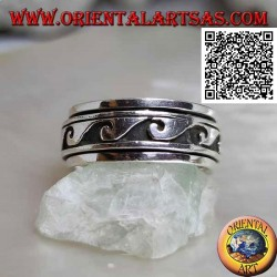 Anello fedina in argento girevole antistress, grandi onde in bassorilievo in successione