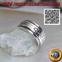 Anello fedina in argento girevole antistress, liscio con croci latine incise