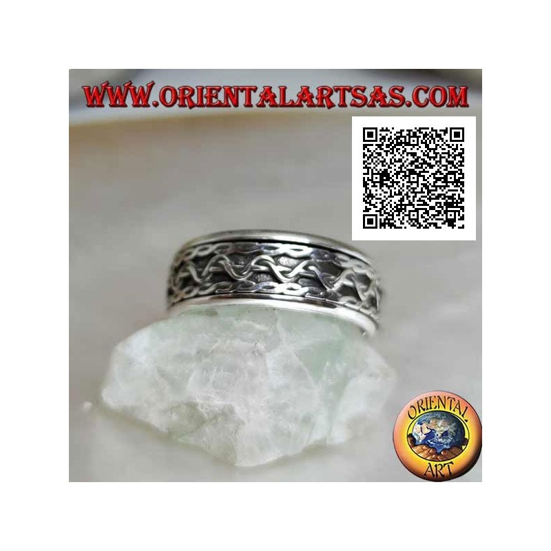 Anti-stress rotating silver ring, intertwined lines with central wave movement