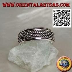 Anello fedina in argento girevole antistress, quadruplo cordino arrotolato