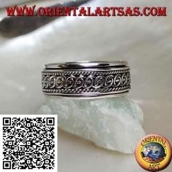 Anello fedina in argento girevole antistress, intrecci di semicerchi tra cordini