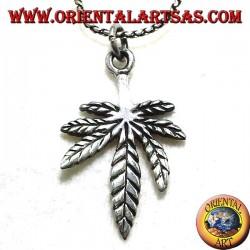 leaf pendant hemp, silver