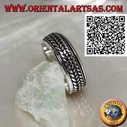 Anti-stress rotating silver band ring, triple rolled cord