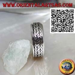 Anello fedina in argento girevole antistress, cordino arrotolato tra intreccio