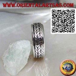 Anti-stress rotating silver band ring, cord rolled between intertwining
