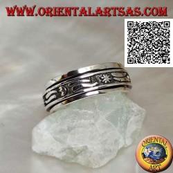 Anello fedina in argento girevole antistress, con stelle, lune e striscia in bassorilievo