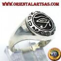 Anello occhio di Horus con geroglifici in argento