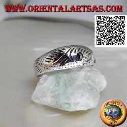 Silver ring with a lightly carved oriental design
