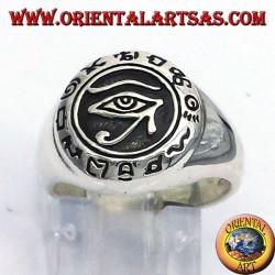Das Auge des Horus Silberring mit Hieroglyphen