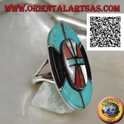 Silver Native American Indian shield ring in turquoise, onyx, mother of pearl and coral mosaic